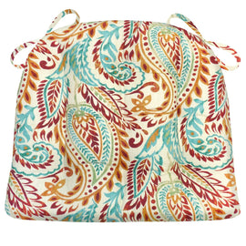 Agave Greystone Dining Chair Cushions - Barnett Home Decor - Red, Turquoise, & Orange Paisley