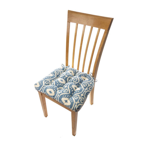 Bali Ikat Blue Dining Chair Cushions - Barnett Home Decor - Blue & White