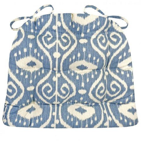 Bali Ikat Blue Dining Chair Cushions - Barnett Home Decor - Blue & Ivory