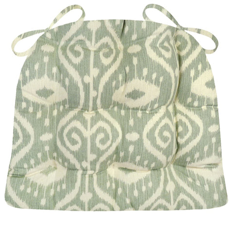 Bali Ikat Spa Dining Chair Pad - Latex Foam Fill - Ikat Scroll