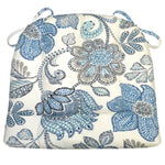 Boutique Floral Blue Dining Chair Cushions - Barnett Home Decor - Blue, Grey, & Taupe