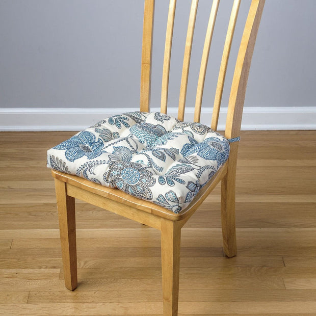 Boutique Floral Blue Indoor / Outdoor Dining Chair Pad - Latex Foam Fill 1