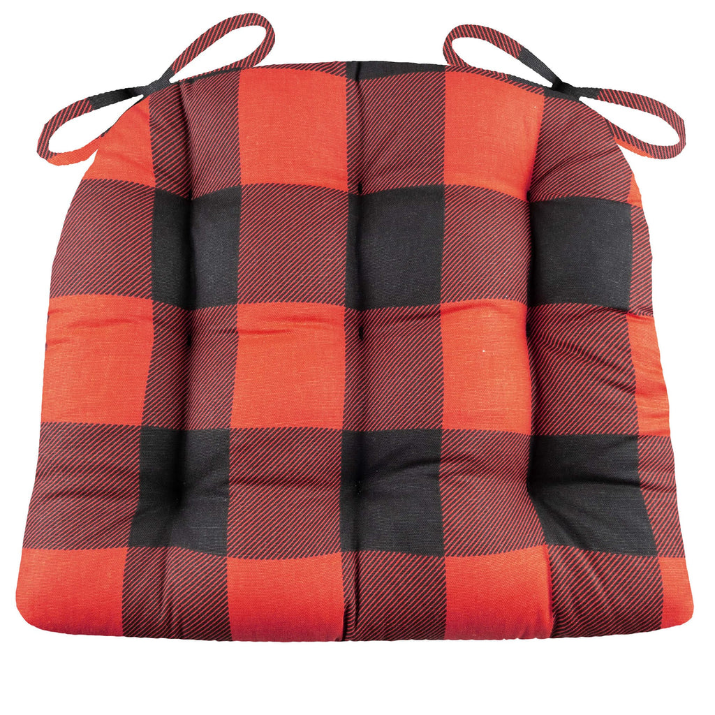 Buffalo Check Black And Red Dining Chair Pad Latex Foam