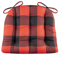 Buffalo Check Black & Red Dining Chair Cushions - Barnett Home Decor - Black & Red - Rustic - American - Cotton