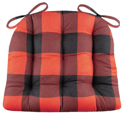 Buffalo Check Black and Red Dining Chair Pad - Latex Foam Fill
