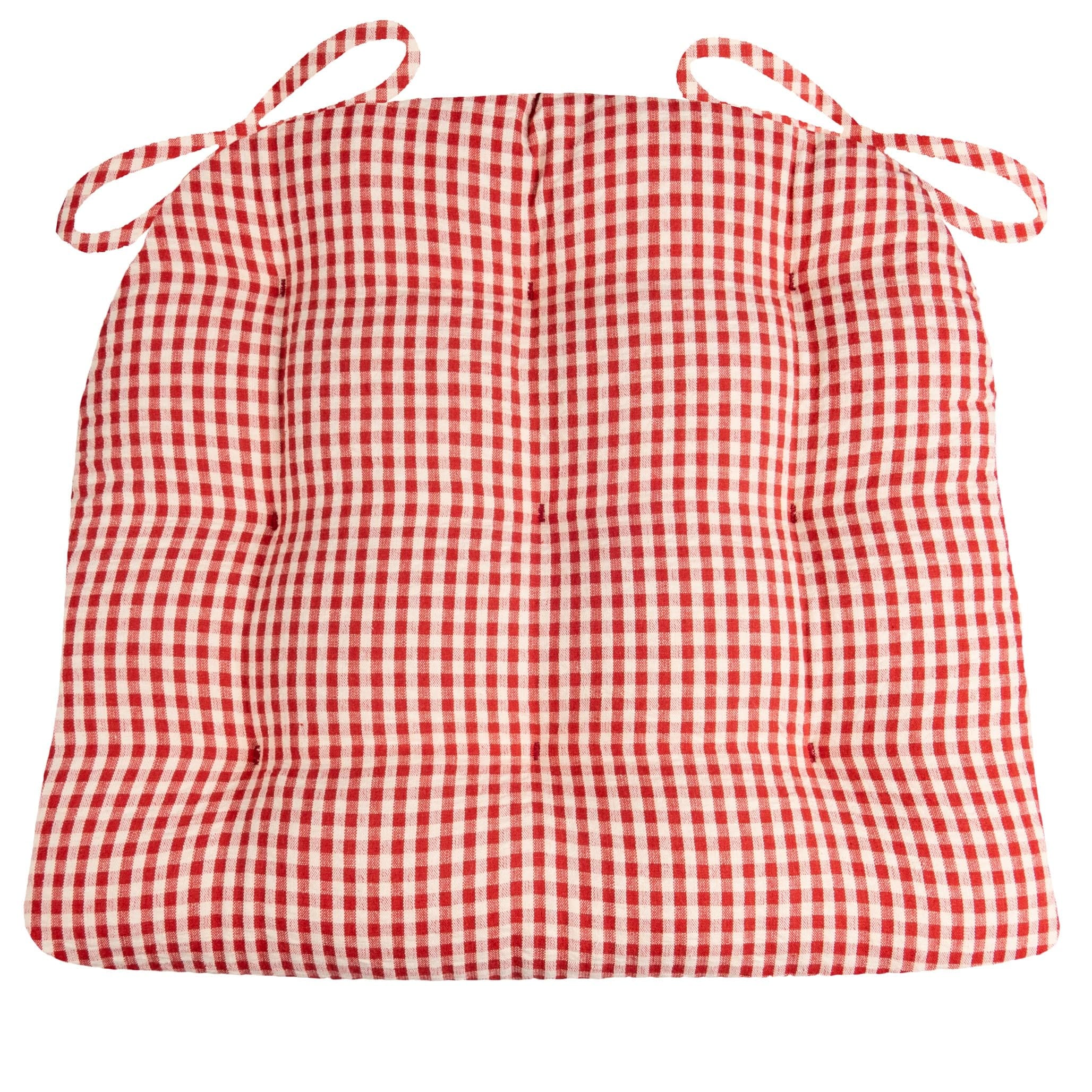 Cassidy Seersucker Red Gingham Dining Chair Pads - Latex Foam Fill, Reversible