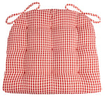 Cassidy Seersucker Red Gingham Dining Chair Pads - Barnett Home Decor - Red & White