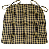 Checkers Black and Tan Plaid Dining Chair Cushion | Barnett Home Decor | Black & Tan