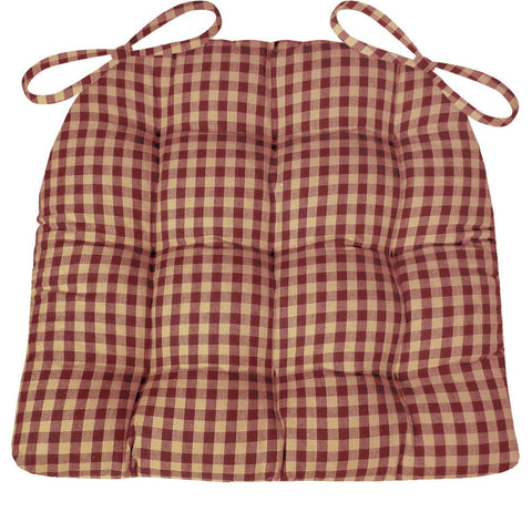 Checkers Red and Tan Dining Chair Cushion | Barnett Home Decor | Red & Tan