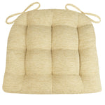 Chenille Rib Tan Dining Char Pad with Ties - Latex Foam Fill