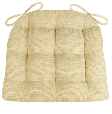 Chenille Rib Tan Dining Chair Cushion - Barnett Home Decor - Beige Tan - Neutral