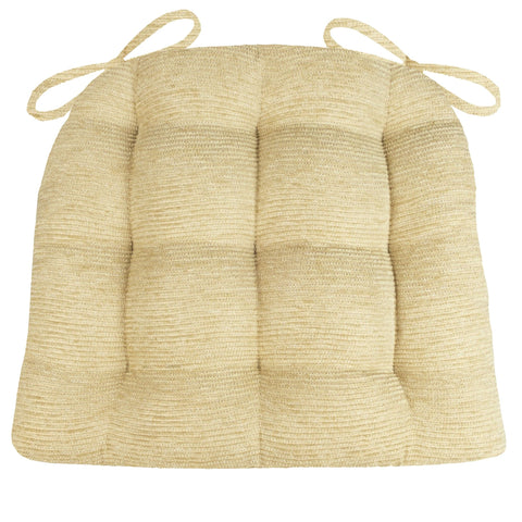 Chenille Rib Tan Dining Chair Cushion - Barnett Home Decor - Tan