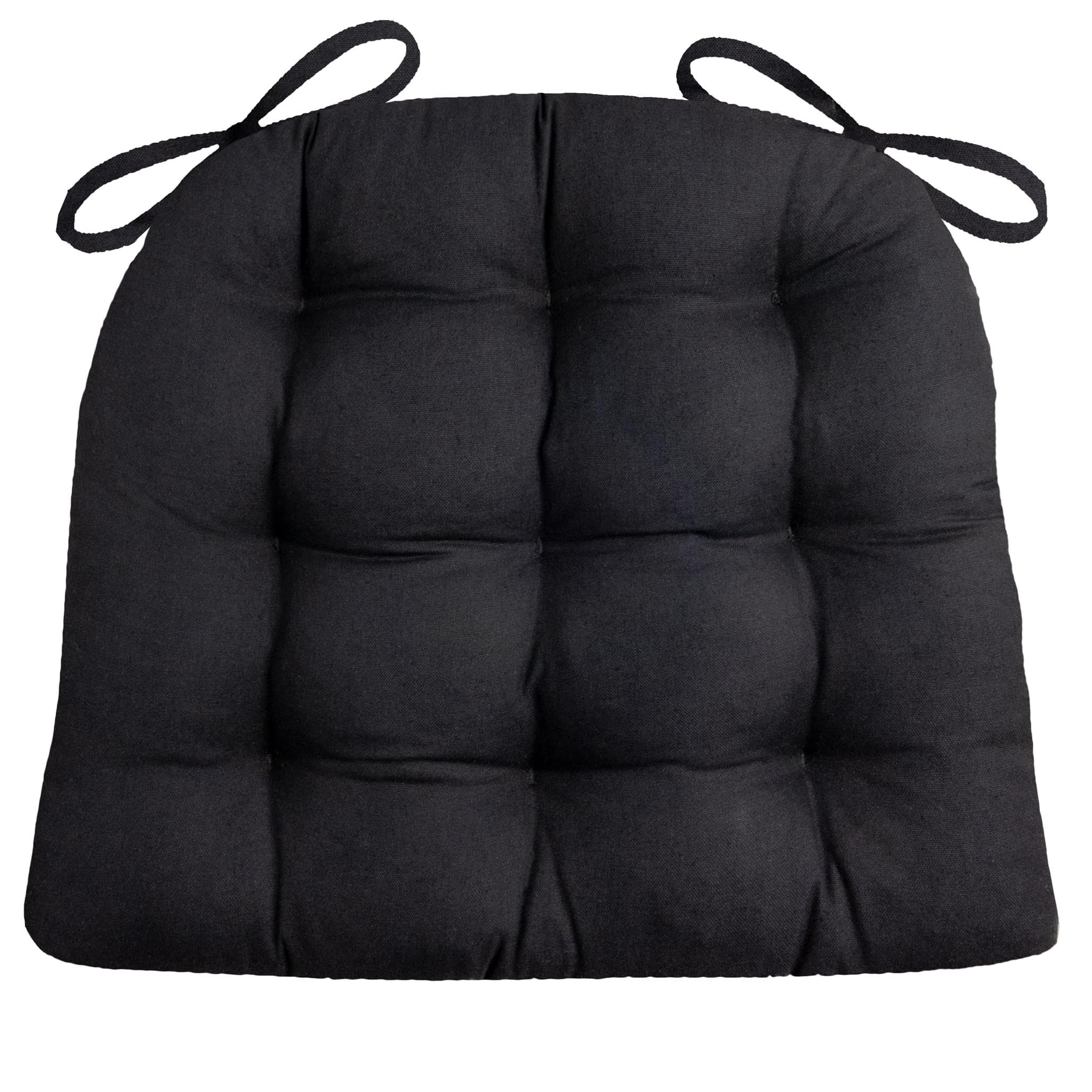 Cotton Duck Black Solid Color Dining Chair Pads   Latex Foam Fill    Reversible ...