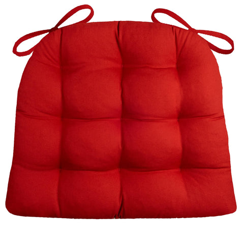 Cotton Duck Flame Red Dining Chair Pads  - Latex Foam Fill - Reversible