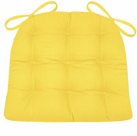 Cotton Duck Yellow Solid Color Dining Chair Pads  - Latex Foam Fill - Reversible