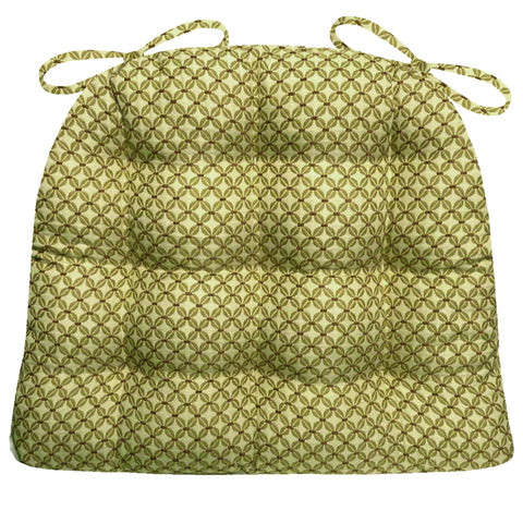 Eloquence Moss Green Brocade Dining Chair Pads | Barnett Home Decor
