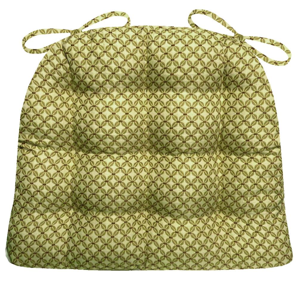 Eloquence Moss Green Brocade Dining Chair Pad - Latex Foam Fill - Reversible