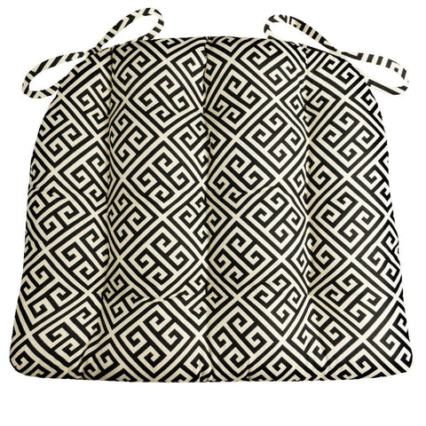 Great Deals Greek Key Dining Chair Cushions - Barnett Home Decor - Black & Ivory