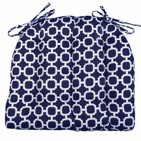Hockley Navy Geometric Dining Chair Cushion | Barnett Home Decor