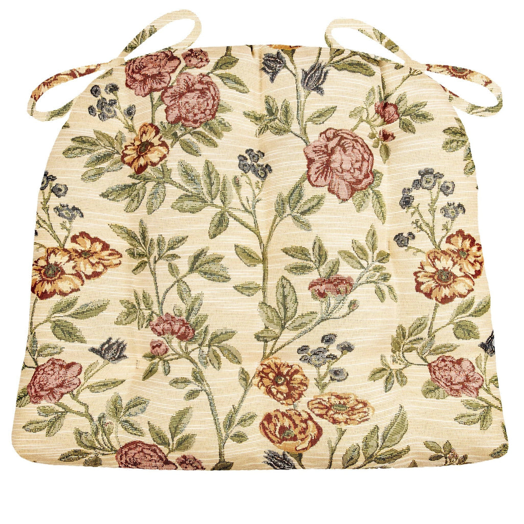 La Belle Floral Dining Chair Pad With Ties