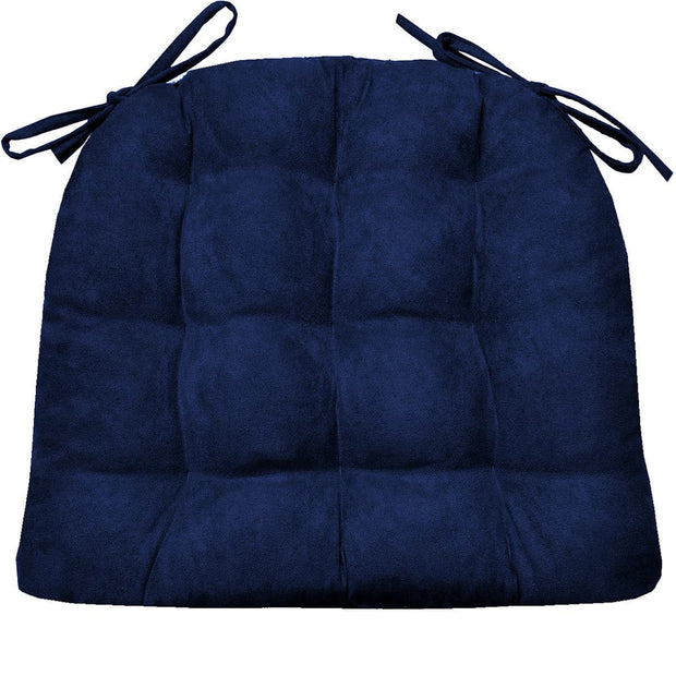 Micro-Suede Royal Blue Dining Chair Pads - Latex Foam Fill, Reversible 1