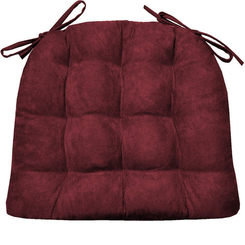 Micro Suede Wine Red Soild Dining Chair Cushion | Barnett Home Decor