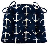 Sailor's Anchor Navy Blue Indoor/Outdoor Dining Chair Cushion | Barnett Home Decor | Navy Blue