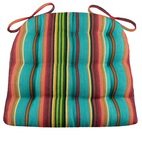 Santa Fe Serape Stripe Dining Chair Pads - Latex Foam Fill, Reversible
