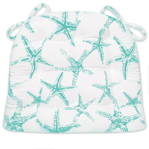 Sea Shore Starfish Aqua Indoor/Outdoor Dining Chair Cushions | Barnett Home Decor | Aqua & White
