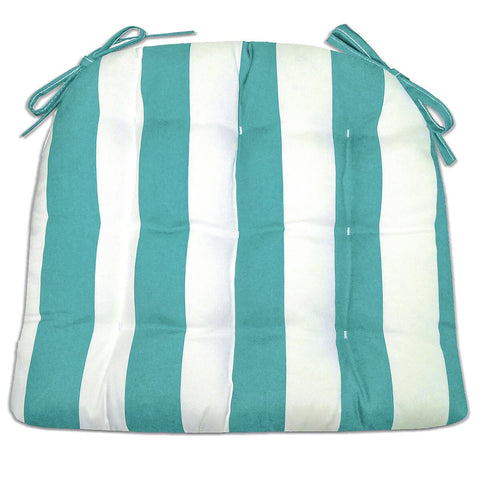 Sea Shore Stripe Aqua Dining Chair Pads Made in USA | Barnett Home Decor