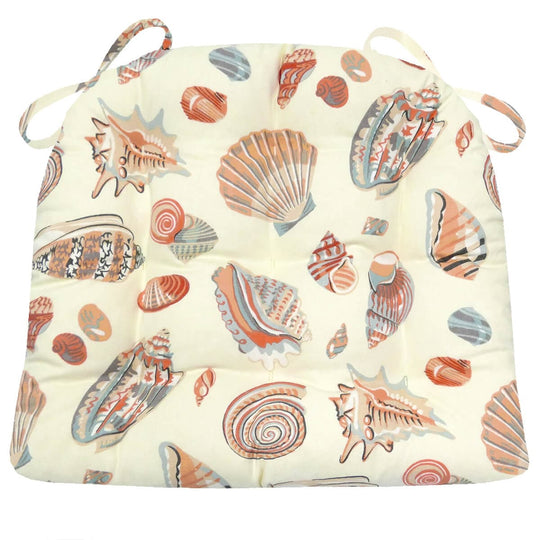 Shells at Low Tide Dining Chair Cushions - Barnett Home Decor - Ivory