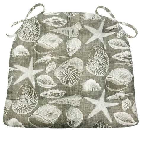 Shoreline Indoor/Outdoor Grey Dining Chair Cushions - Barnett Home Decor - Grey & White