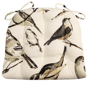 Song Bird Black Chicadee Dining Chair Pads - Barnett Home Decor - Taupe, Black, Grey