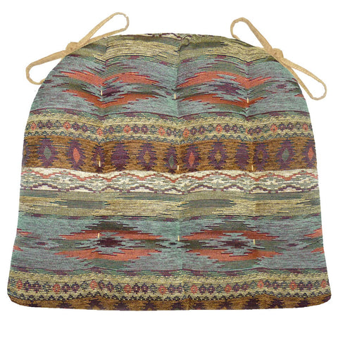Southwest Tucson Desert Dining Chair Cushions - Barnett Home Decor - Salmon, Azure, Sand, & Bronze