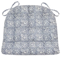 Tibet Blue Dining Chair Cushions - Barnett Home Decor - Blue & White - Mandalas
