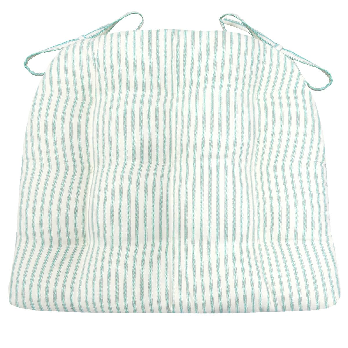 Berlin Ticking Aqua Dining Chair Pads | Barnett Home Decor | Ticking Stripe