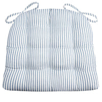 Ticking Stripe Navy Blue Dining Chair Pads - Barnett Home Decor - Navy Blue & White - Light Blue - Striped