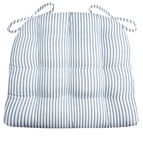 Ticking Stripe Navy Blue Dining Chair Pads - Barnett Home Decor - Navy Blue & White