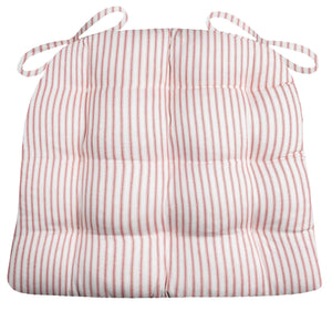 Ticking Stripe Red Dining Chair Pad - Reversible, Latex Foam Fill