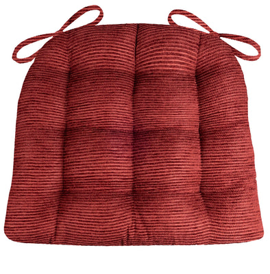 Chenille Rib Claret Red Dining Chair Cushion - Barnett Home Decor - Red
