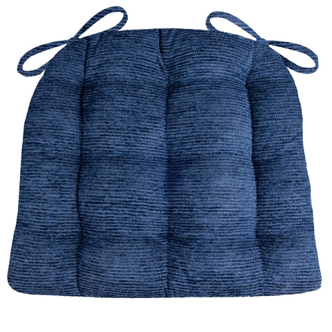 Chenille Rib Navy Blue Dining Chair Cushion - Barnett Home Decor - Navy Blue
