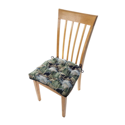 Wilderness Black Bears Dining Chair Pads - Barnett Home Decor - Green, Brown, Blue, & Taupe