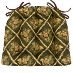 Wilderness Pinecones Green Dining Chair Cushions - Barnett Home Decor - Green, Beige, & Brown