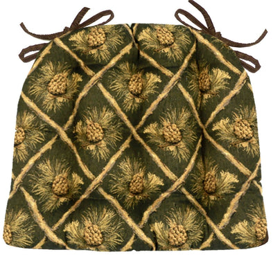 Wilderness Pinecones Green Dining Chair Cushions - Barnett Home Decor - Green, Beige, & Brown - Nature