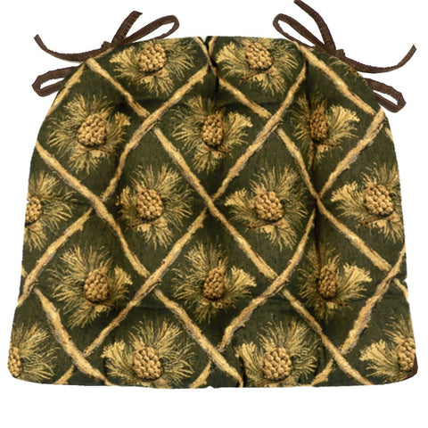 Wilderness Pinecones Green Dining Chair Pads - Latex Foam Fill