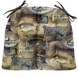 Woodlands Fish Camp Dining Chair Cushions - Barnett Home Decor - Brown
