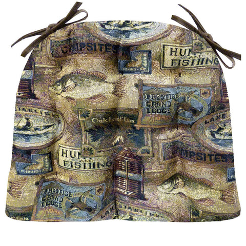 Woodlands Fish Camp Dining Chair Pads - Latex Foam Fill - Rustic Lodge