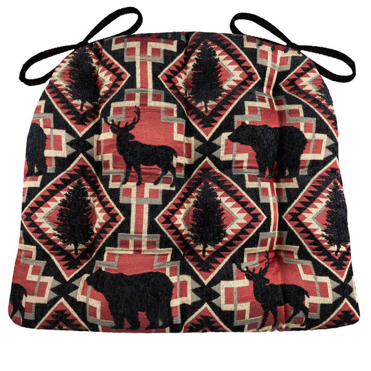 Woodlands Larston Brick Dining Chair Cushions - Barnett Home Decor - Red & Black