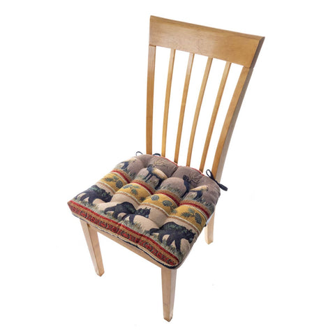 Woodlands Northwoods Dining Chair Pads - Barnett Home Decor - Red, Taupe, & Blue