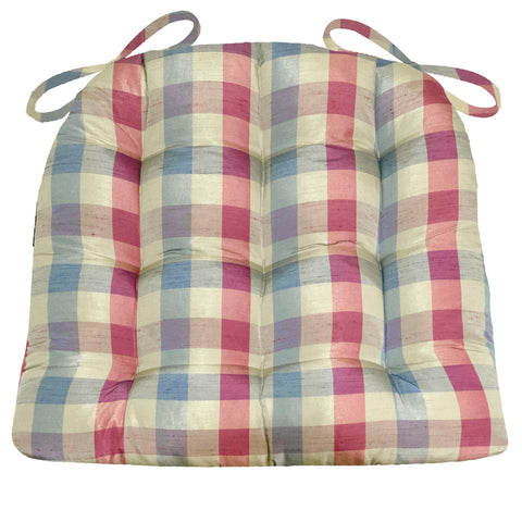 Silky Plaid Winterberry Dining Chair Pads